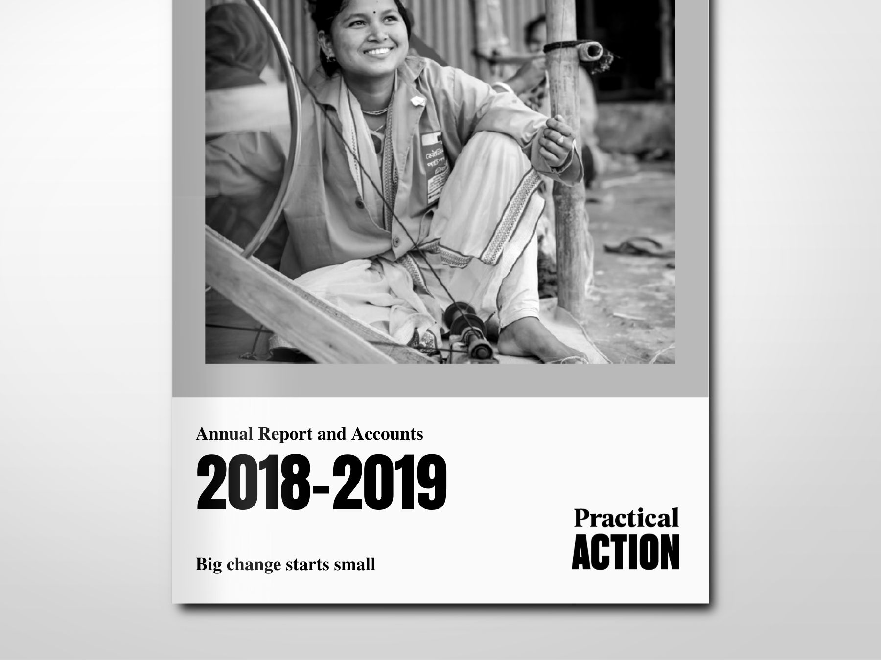 The front cover of Practical Action's 2018-2019 annual report featuring a photo of a young Nepali woman sewing.